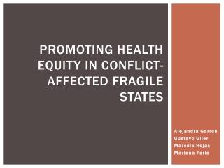 Promoting health equity in conflict-affected fragile states