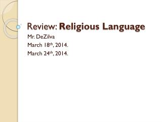 Review:  Religious Language