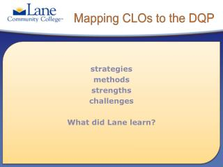 Mapping CLOs to the DQP