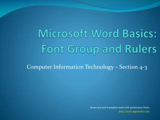 Microsoft Word Basics: Font Group and Rulers