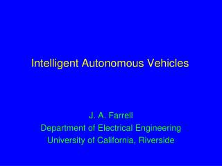 Intelligent Autonomous Vehicles