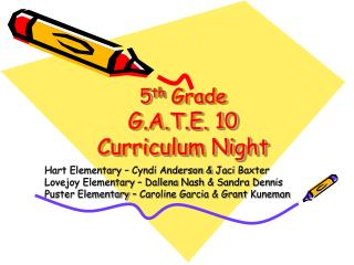 5 th  Grade G.A.T.E. 10 Curriculum Night