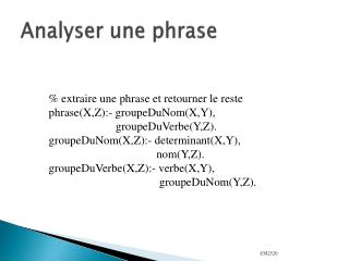 Analyser une phrase
