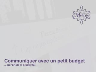 Communiquer avec un petit budget .. ou l'art de la créativité!