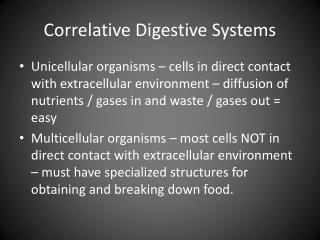Correlative Digestive Systems