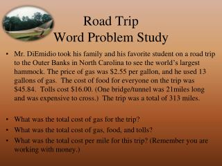 Road Trip Word Problem Study