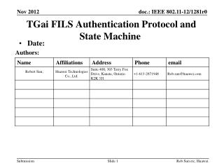 TGai  FILS Authentication Protocol and State Machine