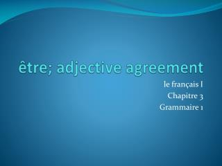 �tre ; adjective agreement