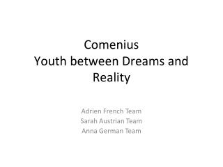 Comenius Youth between Dreams and Reality