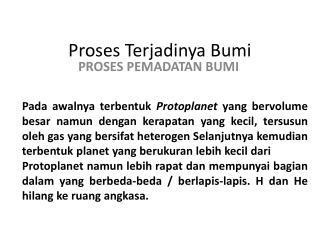 Proses Terjadinya Bumi