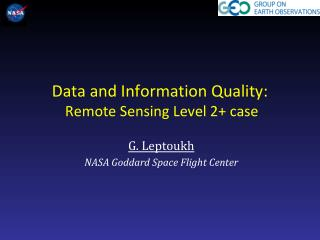 Data and Information Quality :   Remote Sensing Level 2+  case