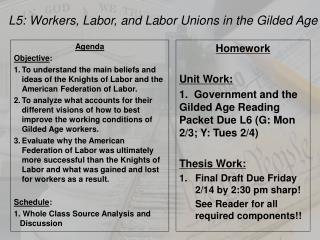 L5: Workers, Labor, and Labor Unions in the Gilded Age
