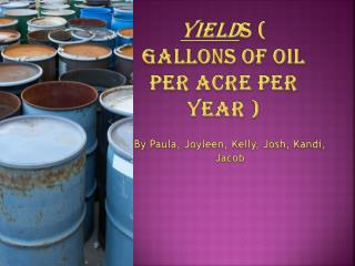 Yield s ( Gallons of oil per acre per year )