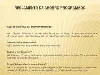 REGLAMENTO DE AHORRO PROGRAMADO