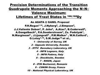 An AGATA @ GANIL Proposal P.H.Regan 1,10 , J.Nyberg 2 , J.Simpson 3 ,