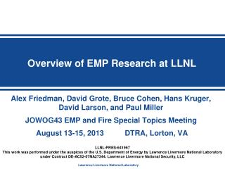 Overview of EMP Research at LLNL