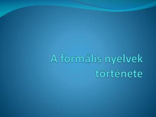 A formális nyelvek története