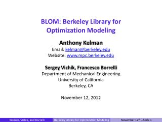 BLOM: Berkeley Library for Optimization Modeling
