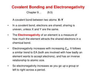 Covalent Bonding and Electronegativity