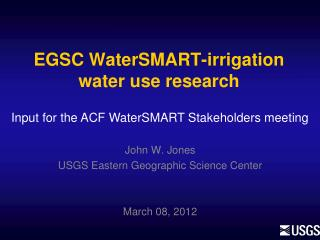 EGSC  WaterSMART -irrigation water use research