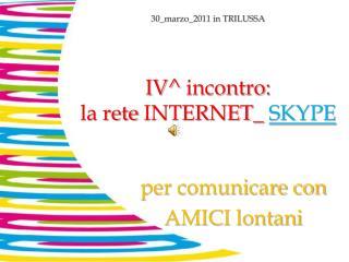 IV^  incontro: la rete  INTERNET_ SKYPE