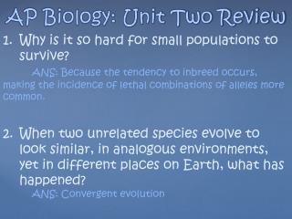 AP Biology: Unit Two Review