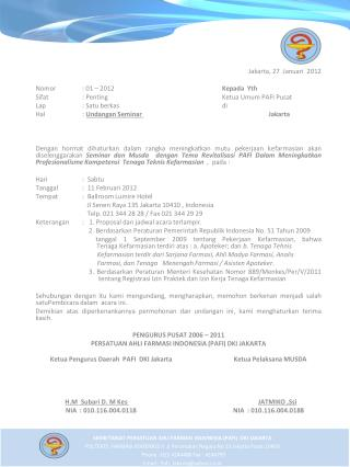 Jakarta, 27   Januari   2012  Nomor  : 01 – 2012 Kepada Yth