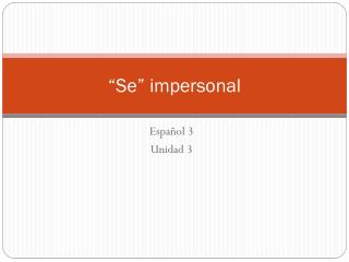 """Se"" impersonal"