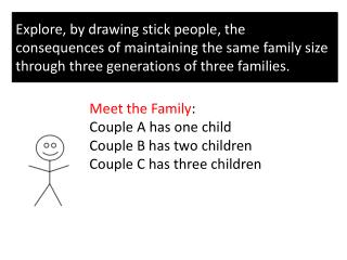 Meet the Family : Couple A has one child C ouple B has two children C ouple C has three children