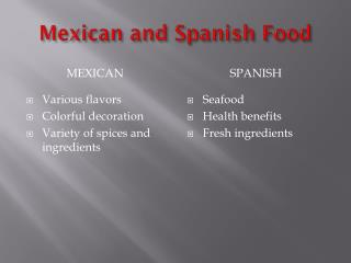 Mexican and Spanish Food
