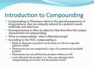 Introduction to Compounding