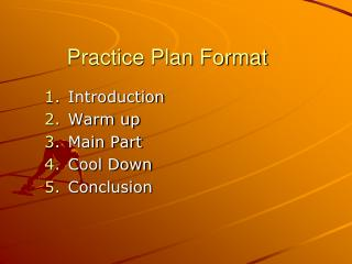 Practice Plan Format
