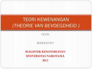 TEORI KEWENANGAN  (THEORIE VAN BEVOEGDHEID )