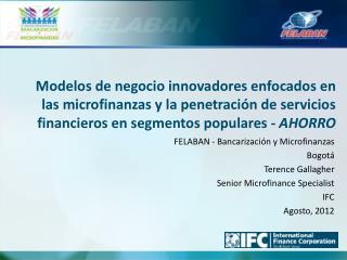 FELABAN - Bancarización y Microfinanzas  Bogotá Terence Gallagher Senior Microfinance Specialist