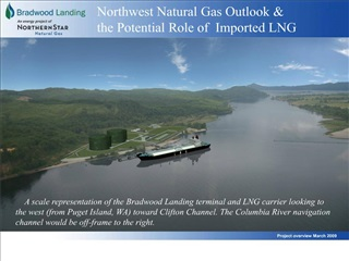 A scale representation of the Bradwood Landing terminal and LNG carrier looking to the west from Puget Island, WA towar