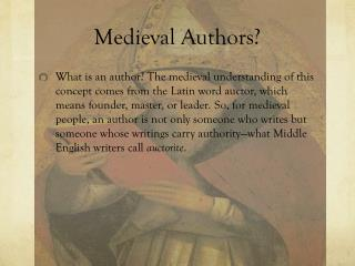 Medieval Authors?