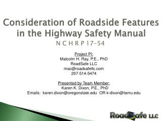 Consideration of Roadside Features in the Highway Safety Manual