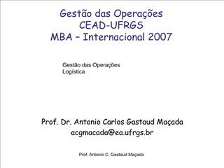Gest o das Opera  es   CEAD-UFRGS MBA   Internacional 2007