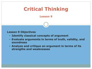 Critical Thinking Lesson 9