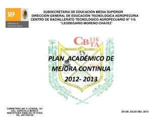 PLAN  ACADÉMICO DE  MEJORA CONTINUA  2012- 2013