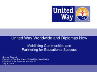 Stacey Stewart Executive Vice President, United Way Worldwide Diplomas Now Summer Institute 2011