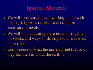 Igneous Minerals