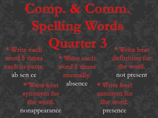 Comp. & Comm. Spelling Words Quarter 3
