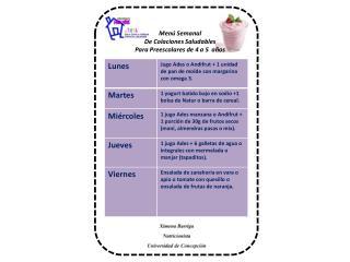 Menú Semanal De Colaciones Saludables Para Preescolares de 4 a 5  años