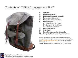 "Contents of ""TREC Engagement Kit"""