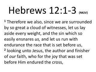 Hebrews 12:1- 3 (NKJV)