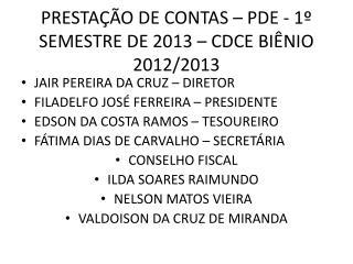 PRESTAÇÃO DE CONTAS – PDE - 1º SEMESTRE DE 2013 – CDCE BIÊNIO 2012/2013