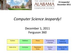 Computer Science Jeopardy! December 1, 2011 Ferguson 360