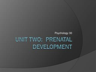 Unit Two:  Prenatal Development