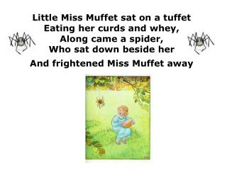 Little Miss Muffet sat on a tuffet Eating her curds and whey, Along came a spider, Who sat down beside her And frightene